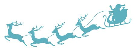 Curved Turquoise Christmas Sleigh Santa And Four Flying Reindeer Ilustracja
