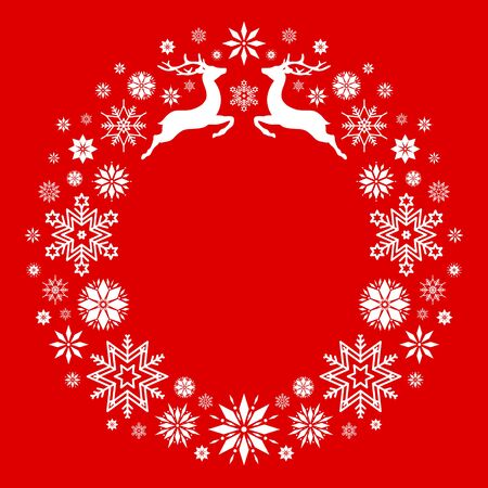 Christmas Wreath Flying Reindeer And Snowflake Red White