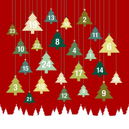 Advent Calendar Hanging Trees Above Forest Red And Green