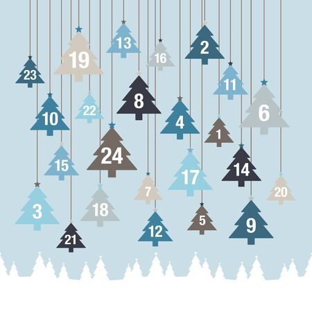 Advent Calendar Hanging Trees Above Forest Blue And Gray