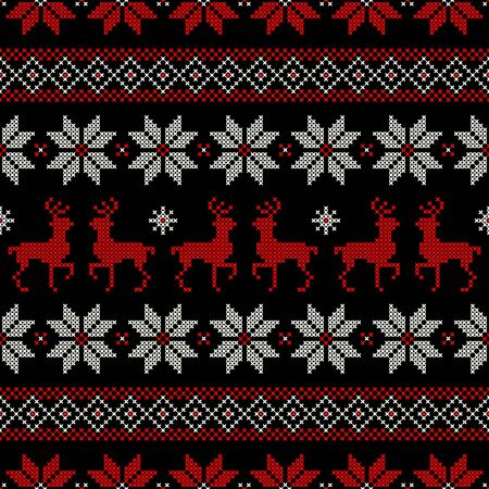 Seamless Pattern Christmas Norwegian Style Embroidery Red White Black