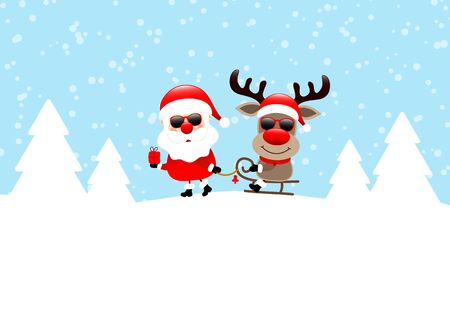 Santa Pulling Sleigh With Reindeer Sunglasses Snow And Forest Blue