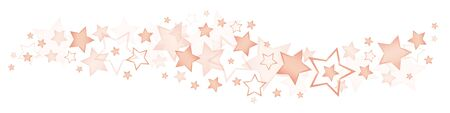 Horizontal Border Different Big And Little Shiny Copper Stars