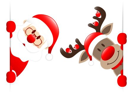 Santa Claus And Reindeer With Baubles Looking Inside Banner