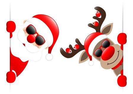 Santa Claus And Reindeer Sunglasses With Baubles Looking Inside Banner