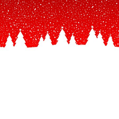 Winter Forest Snowfall Red And White Illustration