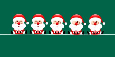 Dark Green Banner Five Sitting Santa Claus With Gift