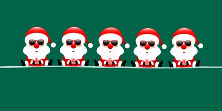 Dark Green Banner Five Sitting Santa Claus With Sunglasses And Gift Ilustracja