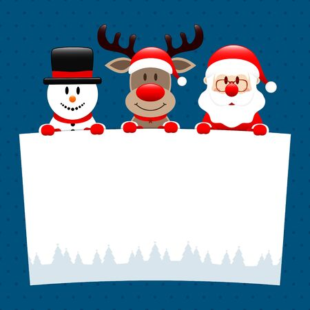 Snowman Reindeer And Santa Holding Wish List Dots Dark Blue