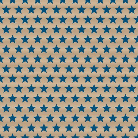 Seamless Pattern Dark Blue Stars On Brown Paper