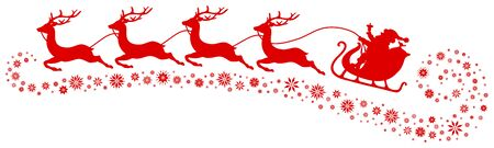 Red Christmas Sleigh Santa And Four Flying Reindeers Snowflakes Below