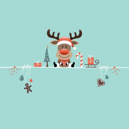 Square Sitting Christmas Reindeer And Icons Candy Cane Turquoise Ilustracja