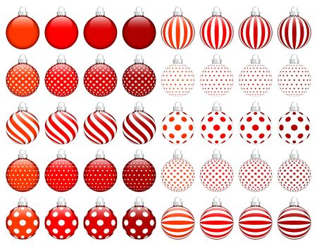 Set Of Forty Christmas Baubles With Pattern Red White Silver