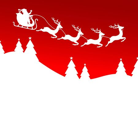 Santa Claus And Christmas Sleigh Four Reindeer Forest Red Background White Illustration