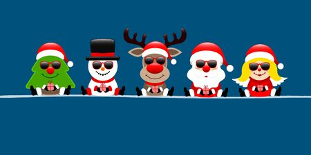 Banner Tree Snowman Reindeer Santa With Angel And Sunglasses Dark Blue