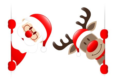 Big Santa Claus And Reindeer Looking Inside Banner