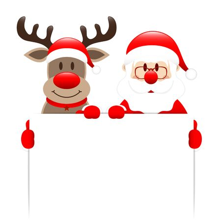 Santa Claus and Reindeer Holding White Label Ilustracja