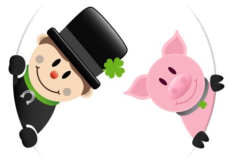 Chimney Sweep And Pig Looking Inside Round Banner Ilustracja