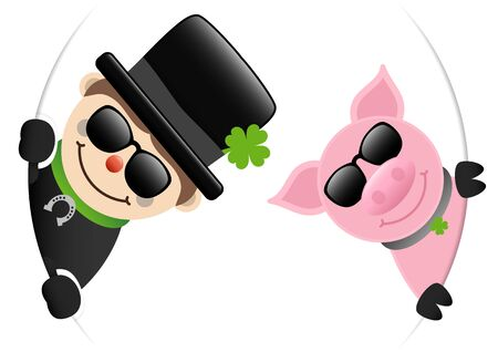 Chimney Sweep And Pig Sunglasses Looking Inside Round Banner