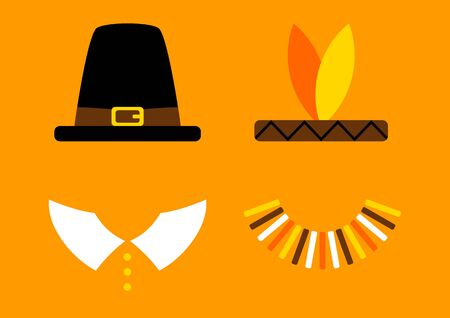 Orange Thanksgiving Card With Abstract Pilgrim And Native American