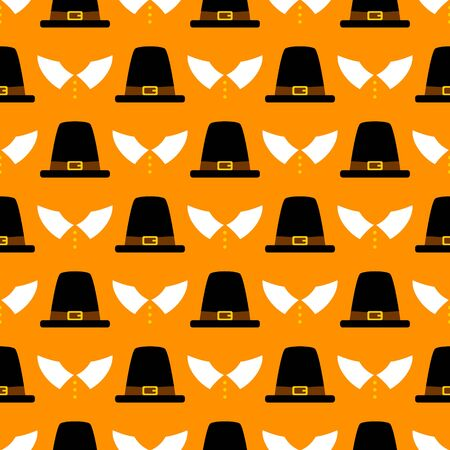 Seamless Pattern Thanksgiving Abstract Pilgrim Orange Ilustracja