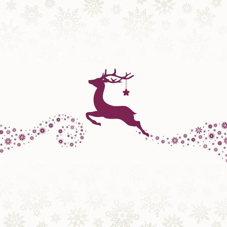 Purple Reindeer With Star Looking Forward With Snowflakes Beige