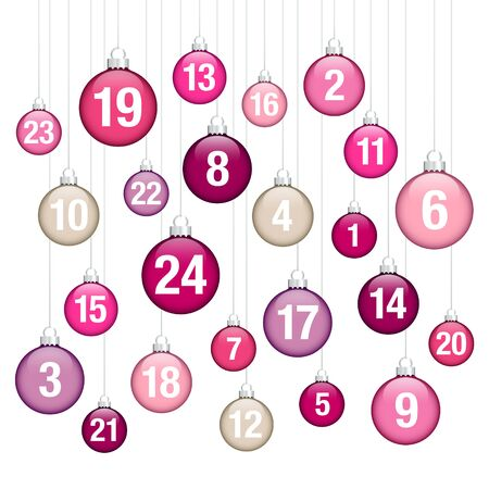 Advent Calendar Hanging Glossy Christmas Baubles Pink Purple Beige Silver Ilustracja