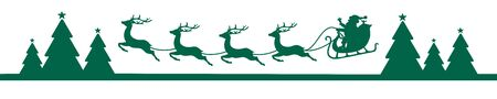Banner Dark Green Christmas Flying Sleigh Above Forest