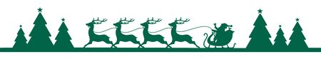 Banner Dark Green Running Christmas Sleigh In Forest Ilustracja