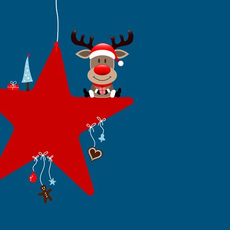 Square Reindeer Sitting On Star With Dark Blue Icons
