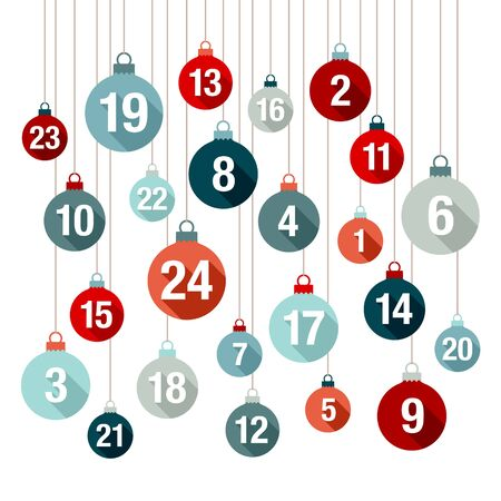 Square Advent Calendar Christmas Balls Red And Blue Flat Design