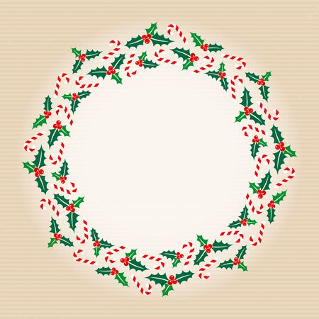 Christmas Wreath Holly And Candy Canes Horizontal Lines Beige