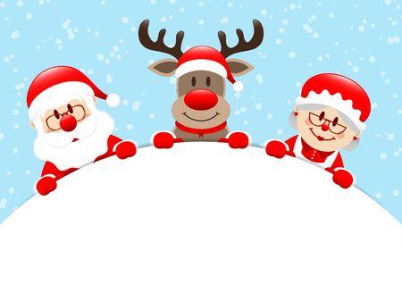 Santa Reindeer And Mrs. Santa Holding Round Banner Snow Light Blue