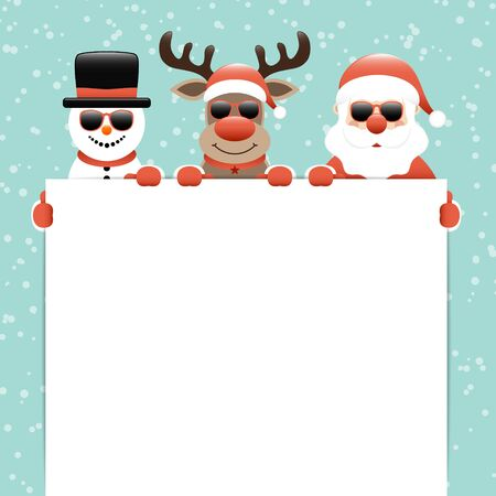 Snowman Reindeer And Santa Claus Sunglasses Holding Label Snow Turquoise