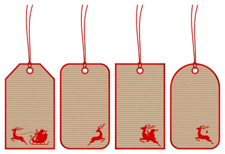Set of Four Christmas Hangtags Reindeer Brown Paper Red