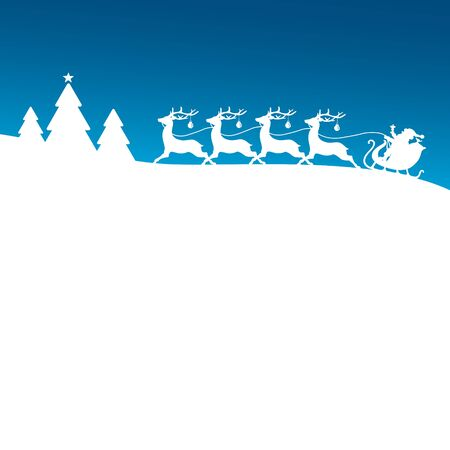 Square Christmas Sleigh Four Reindeer With Baubles In Forest Blue Background Illustration