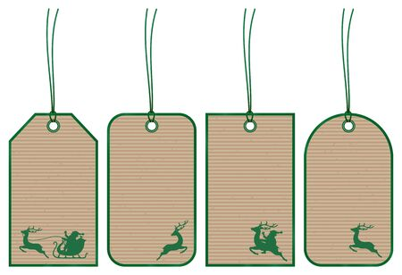 Set of Four Christmas Hangtags Reindeer Brown Paper Dark Green Ilustracja