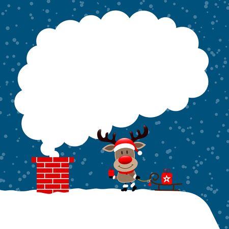 Reindeer On Roof With Sleigh Cloud Of Smoke Snow Dark Blue