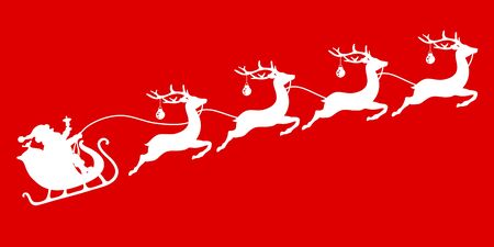 White Christmas Sleigh Santa And Four Flying Reindeer's Baubles Red Background