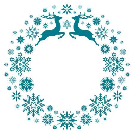 Christmas Wreath Flying Reindeer And Snowflakes Dark Green