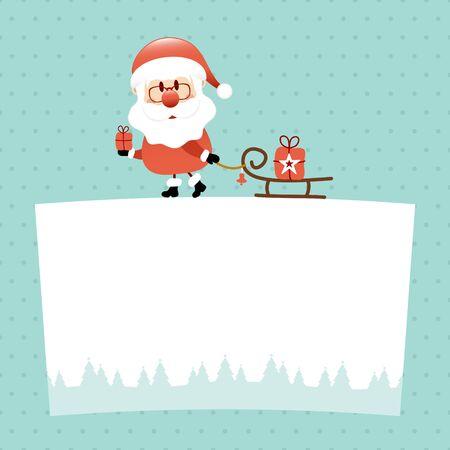 Santa Claus On Label With Sleigh Dots Turquoise Illusztráció