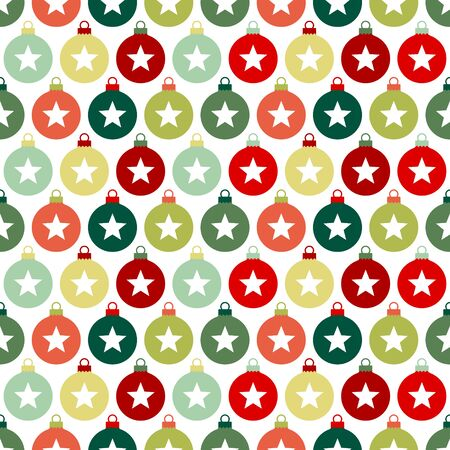 Seamless Christmas Pattern Baubles With Stars Red And Green
