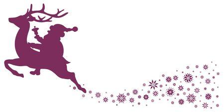 Purple Riding Santa Claus On Reindeer With Snowflakes