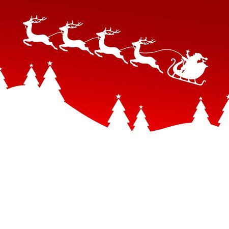 Christmas Sleigh Flying To The Left Forest Dark Red Background Illusztráció