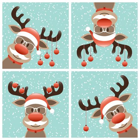 Four Reindeers With Beard And Glasses Christmas Baubles Winter Snow Turquoise