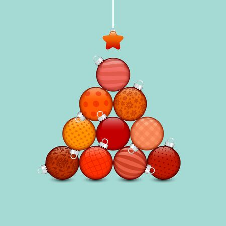 Christmas Tree Made Of Stapled Baubles With Pattern Red And Turquoise