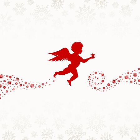 Flying Red Angel With Christmas Snowflakes Background Beige