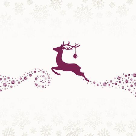 Purple Reindeer With Bauble Looking Forward With Snowflakes Beige