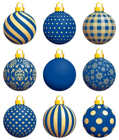 Set Of Nine Christmas Baubles Pattern Dark Blue And Gold Illusztráció
