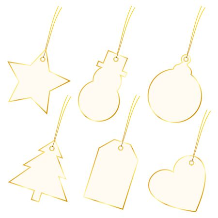 Collection Of Six Diagonal Christmas Hangtags Beige With Golden Frame